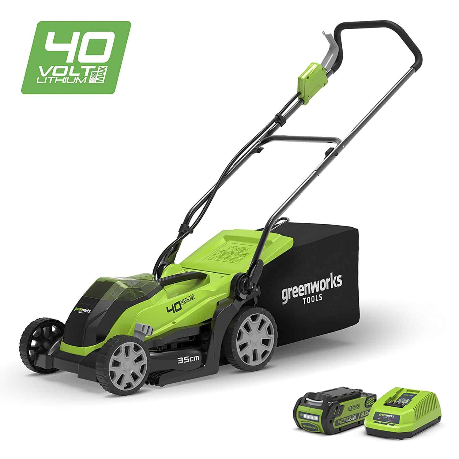 Greenworks 14-Inch 40V Cordless Lawn Mower Review 2019 14″ with 4Ah battery and charger – MO40B410